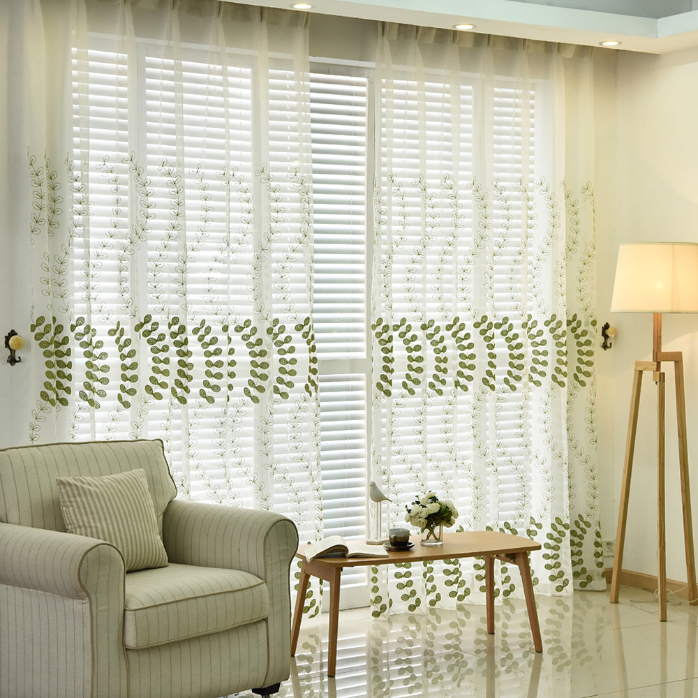 Green curtains for bedroom - Modern Embroidered Green Leaves Tulle Curtains For Bedroom Sheer Curtains For Living Room Window Drape