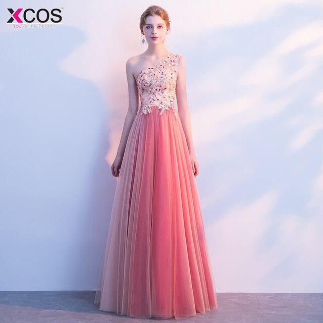 9279b7627 New Arrival Pink One Shoulder Vintage Lace Appliques Beaded A Line  Bridesmaid Dresses 2018 Party Gowns Vestido De Festa