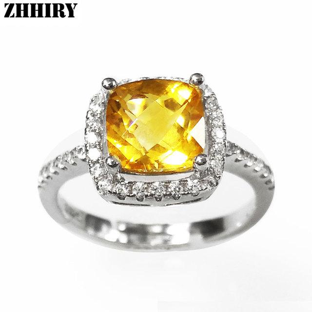 Mujeres natural Brasil citrino anillo 925 sterling silver Lady unas verdaderas joyas anillos de la joyería