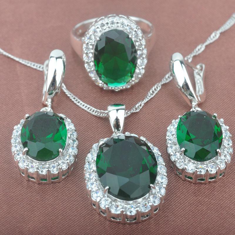 Schmuck & Zubehör Analytisch Klassisches Design Grün Zirkonia Frauen Silber Schmuck Sets Halskette Anhänger Ohrringe Ringe Freies Verschiffen Tz010