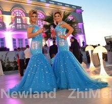 Luxus See Blau Strass Meerjungfrau Abendkleid Tolles Design Lace up Lange Tüll Frau Abendgesellschaft Kleider Echt Fotos