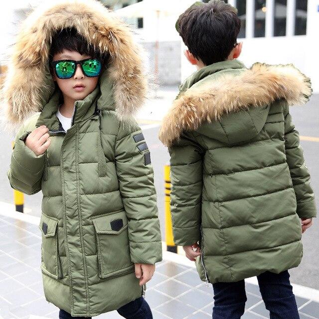 Новые зимние куртки для мальчиков Модная утепленная Snowsuit молодежи дети Пуховые пальто верхняя одежда теплая верхняя одежда детская одежда
