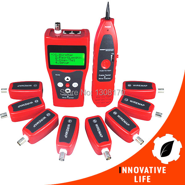 купить Multipurpose Digital LCD LAN Cable Tester with 8 Remote Identifier Testing 5E 6E Network Coaxial Telephone Line USB Cable недорого