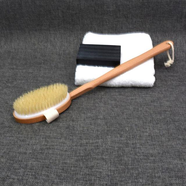 New 1Pc Qualified Shower Brush Natural Long Wooden Bristle Massager Bath Shower Back Spa Detachable Scrubber 5