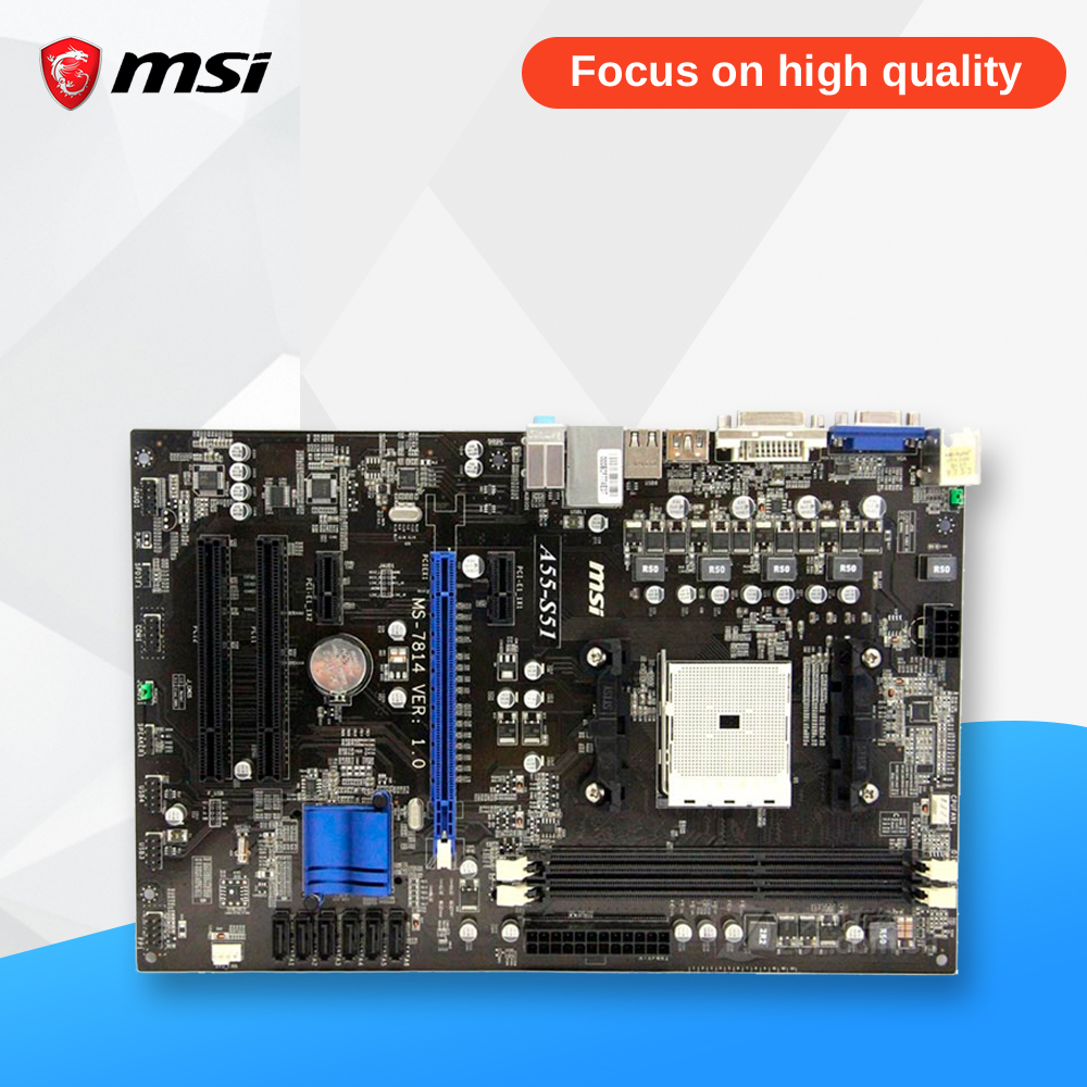 MSI A55-S51 Original Used Desktop Motherboard A55 Socket FM1 DDR3 SATA2 USB2.0 Micro ATX msi p41 c31 original used desktop motherboard p41 socket lga 775 ddr3 4g sata2 usb2 0 atx