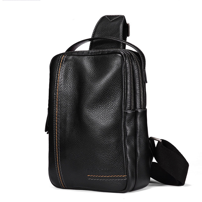 Men's leather business large-capacity messenger bag The first layer of leather casual vertical double zipper chest bag. korean version of the first layer of leather vertical section square shoulder messenger bag in the bag fashion casual tassel lea