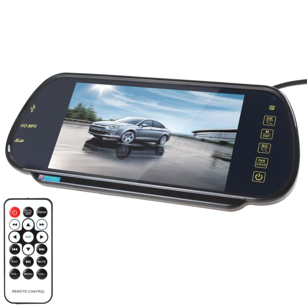 7 tums TFT-färg LCD-bildskärm MP5 Car Backspegelskärm Support SD USB-bildskärm bakifrån