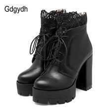Gdgydh 2018 Autumn Women Lacing Platform Boots High Heels Female Black Platform Heels Spring Short Boots Ladies Shoes for Party