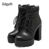 Gdgydh 2019 Autumn Women Lacing Platform Boots High Heels Female Black Platform Heels Spring Short Boots Ladies Shoes for Party
