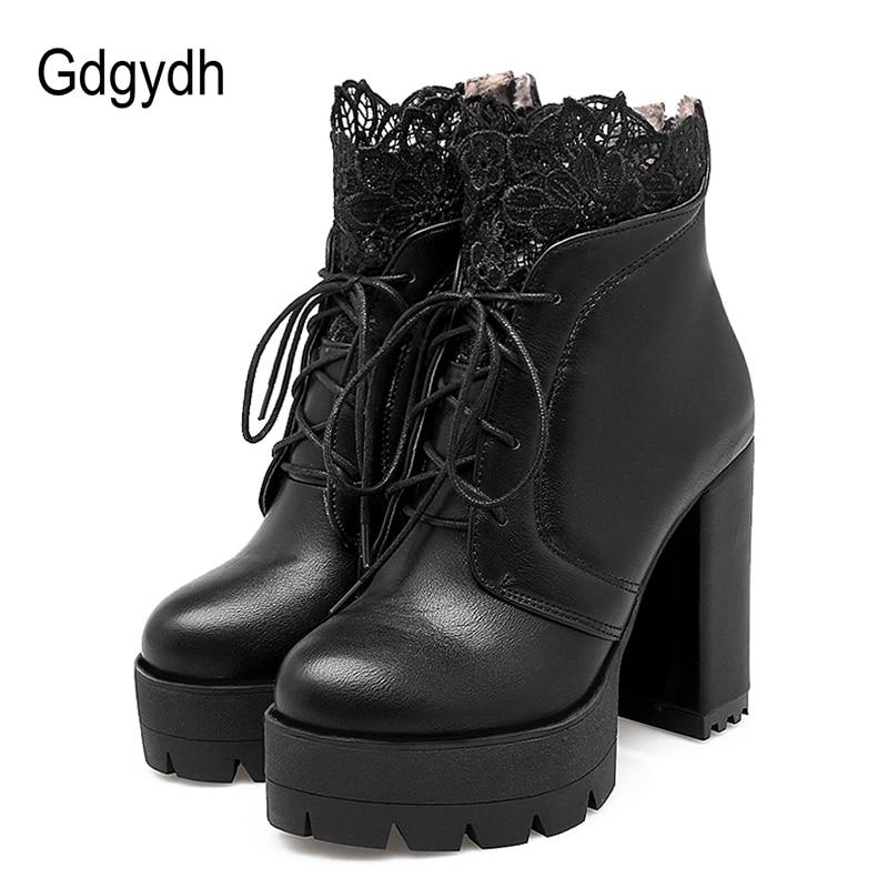 Gdgydh 2019 Autumn Women Lacing Platform Boots High Heels Fe