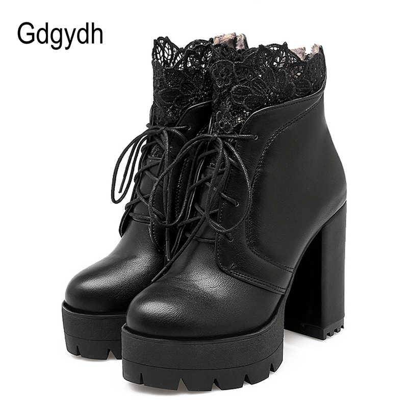 Gdgydh 2019 Sonbahar Kadın Bağlama Platformu Çizmeler Yüksek Topuklu Kadın Siyah Platform Topuklu Bahar kısa çizmeler Bayanlar için Ayakkabı Parti