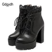 Gdgydh/2021 осенние женские ботинки на платформе со шнуровкой;