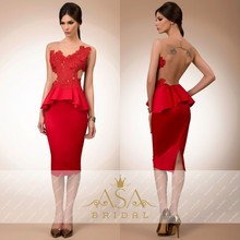 Elegante Spitze Applique V-ausschnitt Mantel Rot Sexy Backless Abendkleid 2016 Ärmeln vestido de festa longo
