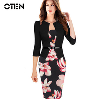 Womens Autumn Retro Faux Jacket One Piece Polka Dot Contrast Patchwork Wear To Work Office Business