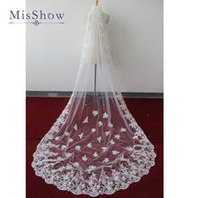 2019 elegant White Ivory cathedral wedding veil lace edge bridal veil 3 m long trailing Wedding Accessories with Comb(China)