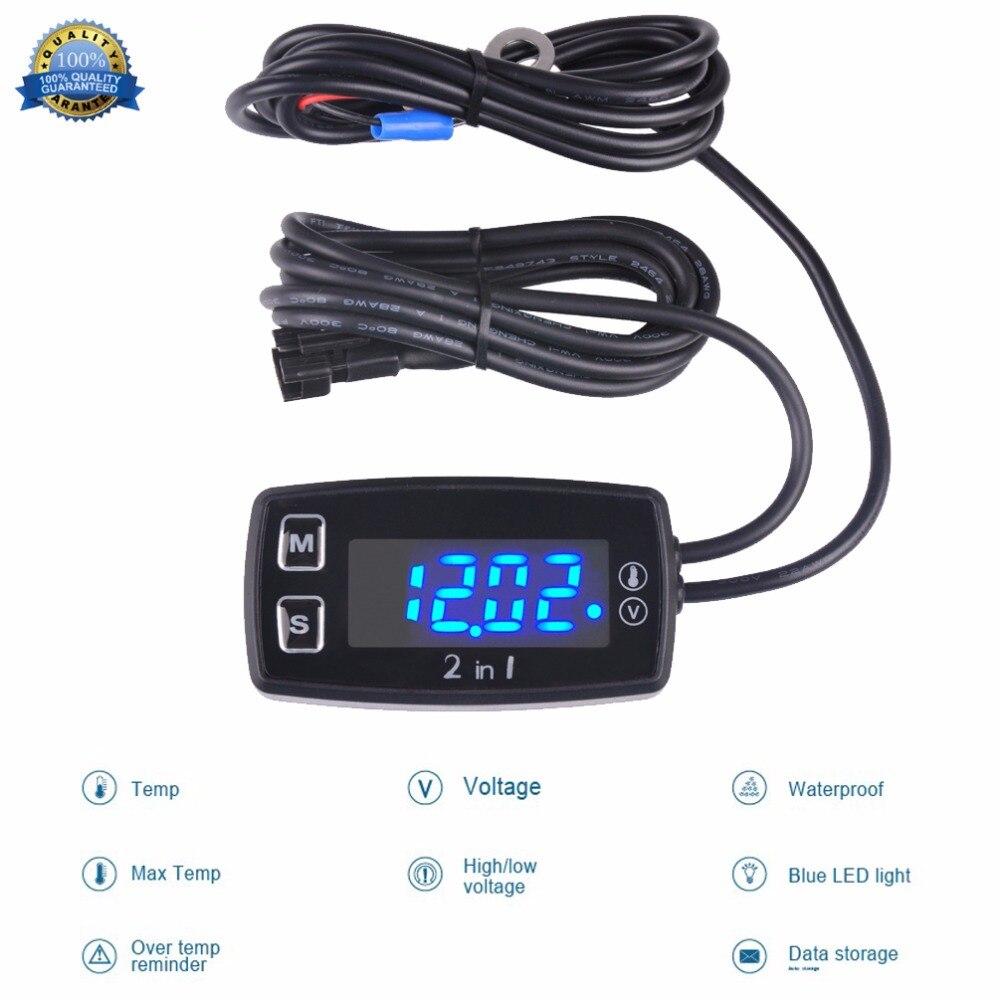 Rəqəmsal LED Termometr Voltmetr Temperatur Meter Çəkmə - Motosiklet aksesuarları və ehtiyat hissələri - Fotoqrafiya 2