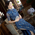 TIC-TEC chinese traditional women vintage lace cheongsam long qipao oriental dresses Classic elegant formal evening cloth P3114