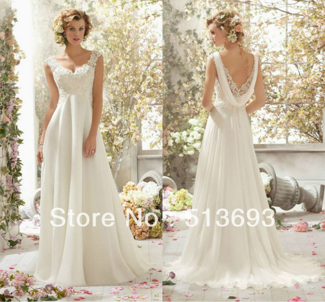 afd6f9a749 Elegant Perfect Crystals Lace Low Back Chiffon Beach Destination Wedding  Dress Bridal Gown 2014 for Girls Free Shipping
