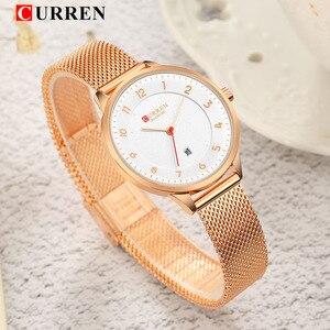 Image 3 - Curren Watch Blue Gold Women Watches Analog Quartz Ultra thin Stainless Steel Sport Women Watches Waterproof Ladies Watch Saat