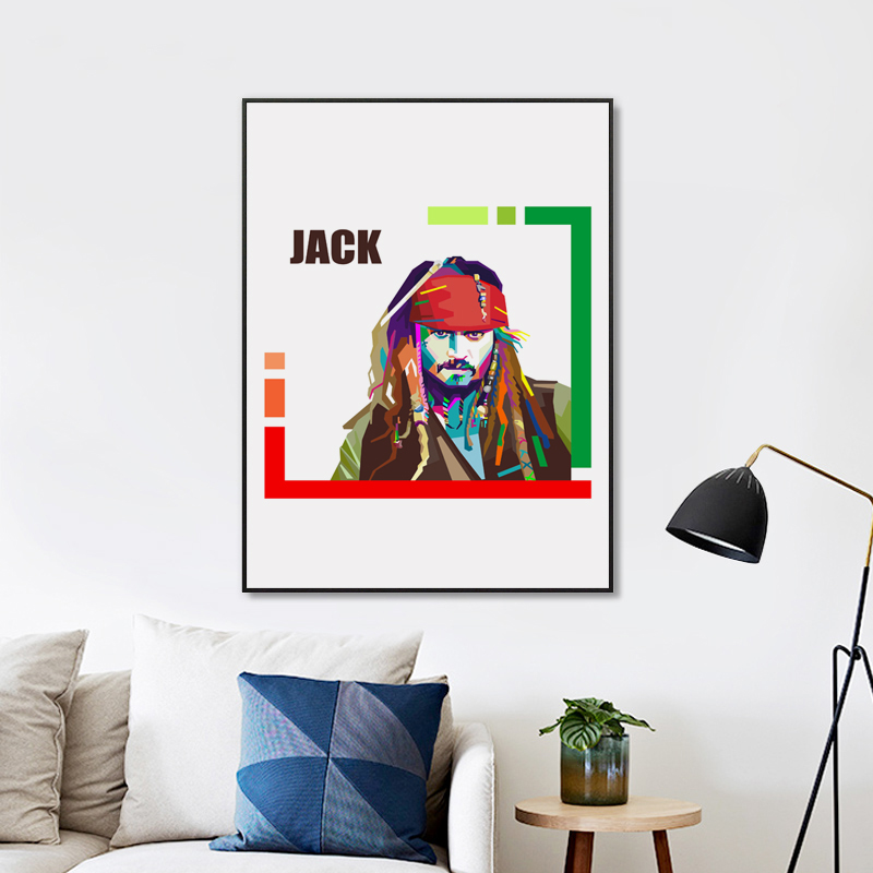 FGHGF Simple Caribbean Pirate Movie Jack Art Portrait Canvas Painting Print Image Poster Wall Bedroom Home Decoration