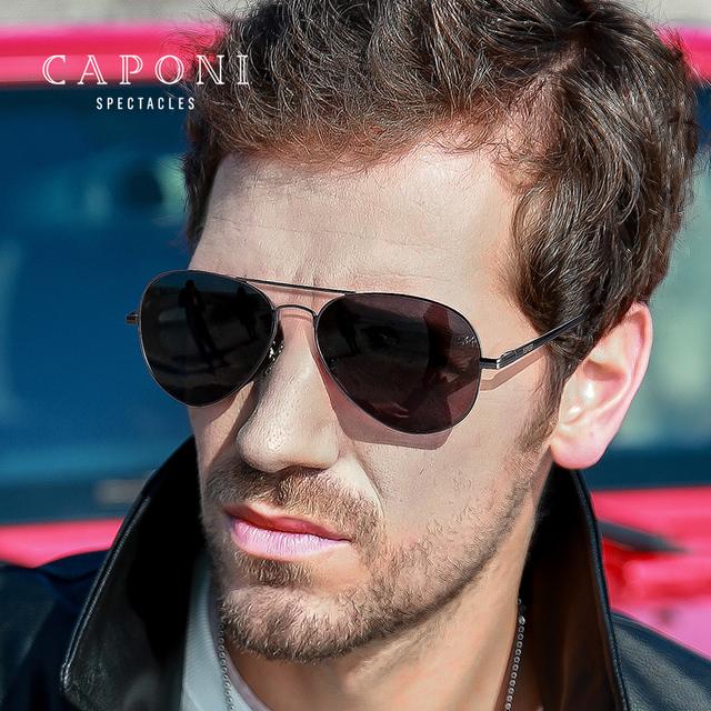 Caponi Men Vintage Pilot Sunglasses HD Polarized Photochromic Sun Glasses UV400  gafas oculos de sol masculino 3025