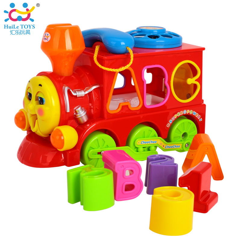 hot sale electronic wisdom train vehicle music toys with light block letter children learning and educational toys free shipping