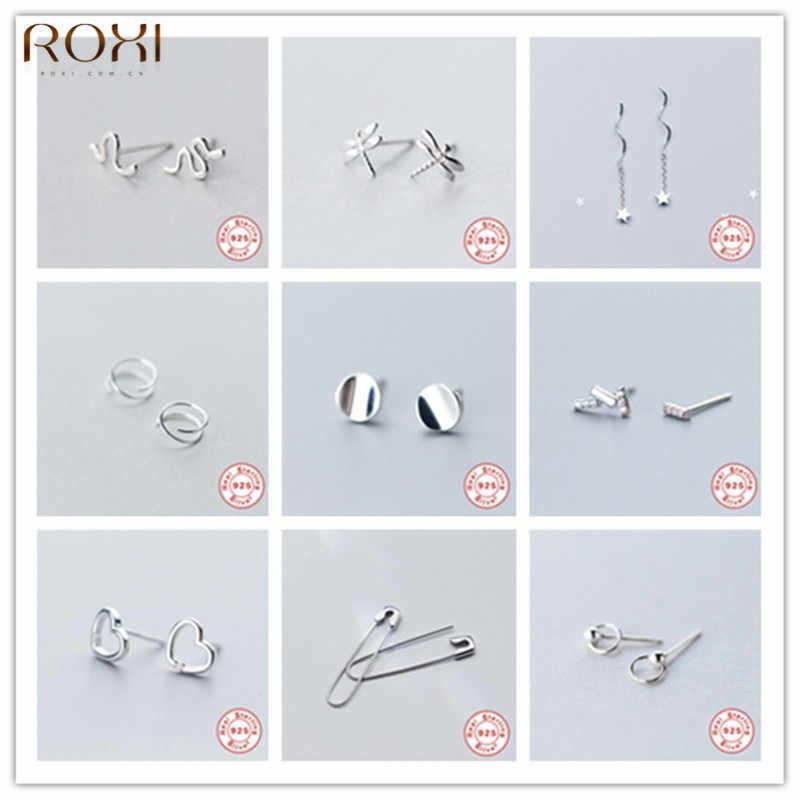 ROXI чистое серебро 925 пробы Серьги для женщин Свадебные ювелирные изделия Мода звезда серьга-гвоздик для пирсинга маленькие серьги ушное кольцо