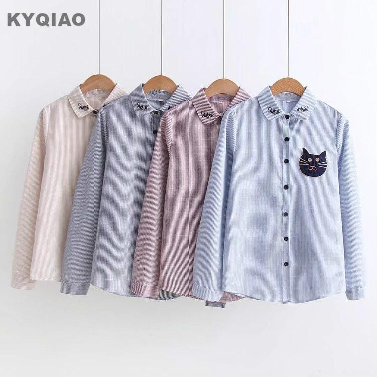 Kyqiao Vintage Denim Shirt 2019 Women Autumn Winter Loose Japanese Style Fresh Long Sleeve Cat Embroidery Denim Blouse Women's Clothing