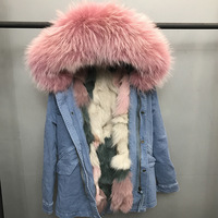 Winter Women S Fashion Loose Washed Denim Long Thick Warm Real Fox Lining Raccoon Fur Hooded