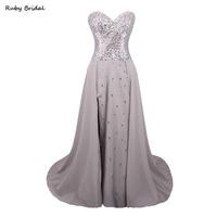 L Ivresse 2017 Vestidos De Fiesta Gray Chiffon Crystals Beaded Prom Dress Luxury A Line Split