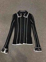 2019 Весенняя Новинка стильная женская блузка Шелк бисером кардиганы с длинными рукавами отложной воротник женские рубашки 0307