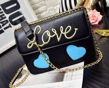 Love heart hit the color chain shoulder Messenger bag,women lady girls cute crossbody flap bags