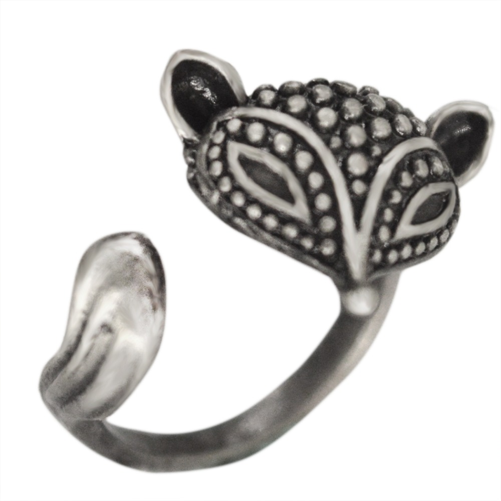 QIAMNI Fashion 10pcs/lot Wholesale Antique Silver Tone Adjustable Retro Fox Animal Ring Jewelry Gift for Women and Girls