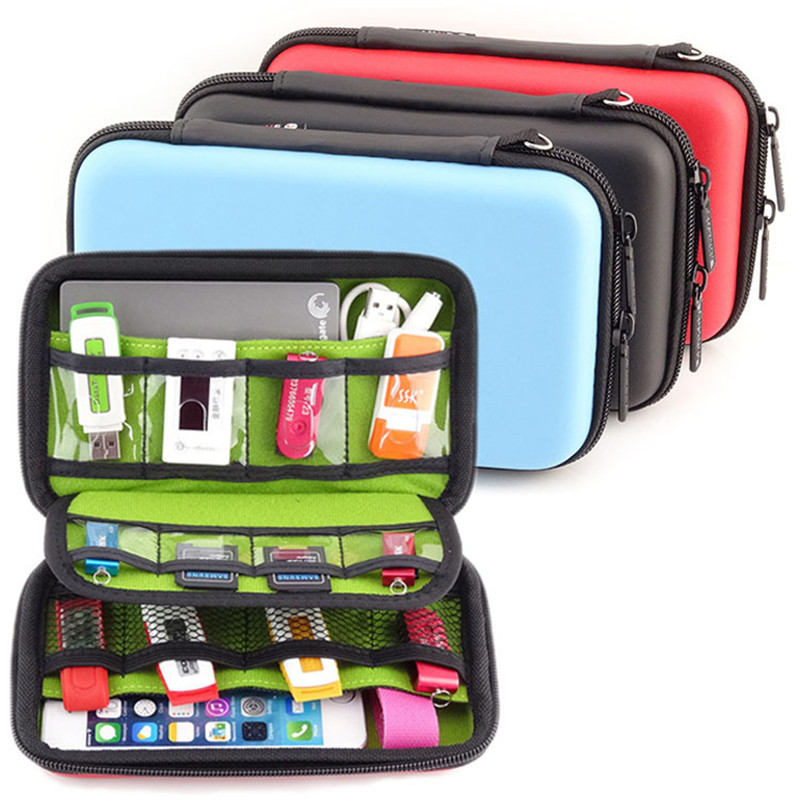 Portable Multi-function Electronic Accessories Travel Storage Bag for HDD, Power Bank, U Disk, SD Card, USB Data Cable EVA Pouch