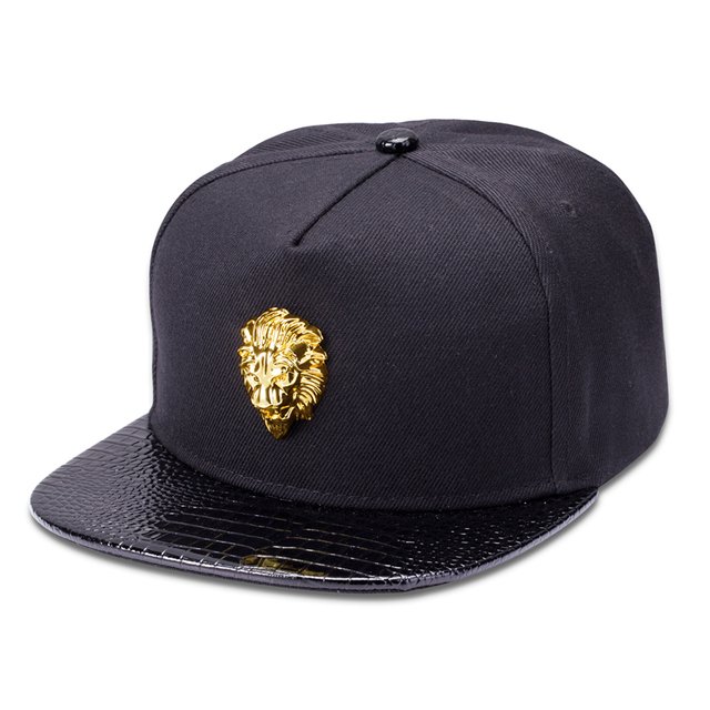 a83bb9d1 US $12.06 29% OFF|NYUK Free Shipping Metal Lion Head Hats Adjustable Hip  Hop Flat Brimmed Baseball Cap Snapback Hat Women Men Personalized Cotton-in  ...