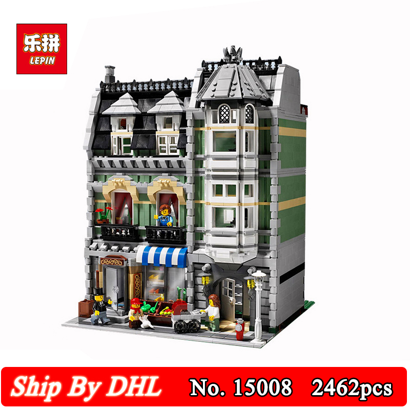 DHL Shipping Lepin 15008 City Street View Green Grocer Model Building Kit Set 2462Pcs Blocks Bricks Children Toy lepin 15008 new city street green grocer model building blocks bricks toy for child boy gift compatitive funny kit 10185 2462pcs