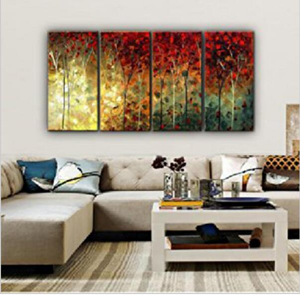 pintado a mano paisaje bosque rbol abstracto moderno modular aceite de dibujo pintura de la lona