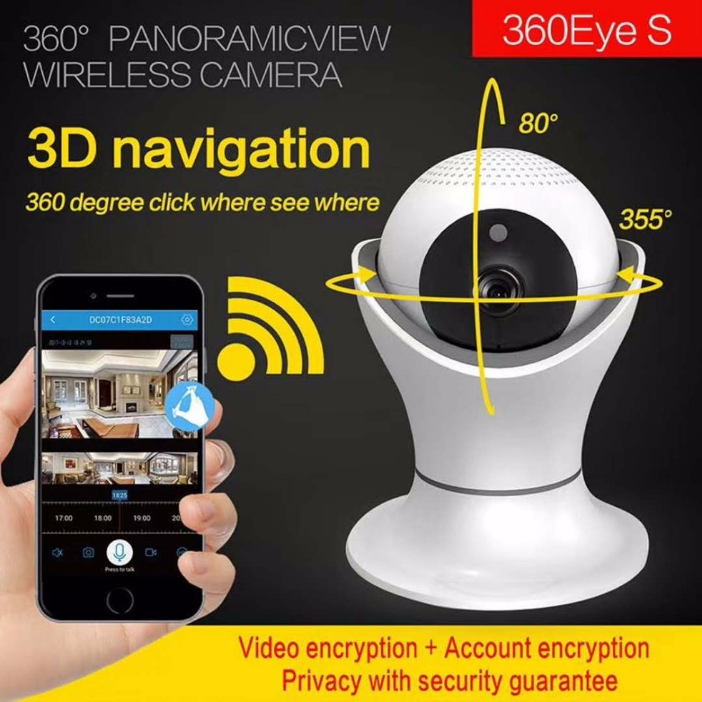 360 Degree 3D Navigation Panoramic Wireless 1080P IP Camera Support 128G TF Card Storage цены онлайн