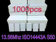 1000pcs/Lot RFID 13.56MHz ISO14443A Smart Card 1K Nfc Card Re writable Cards for Access control and Attendance