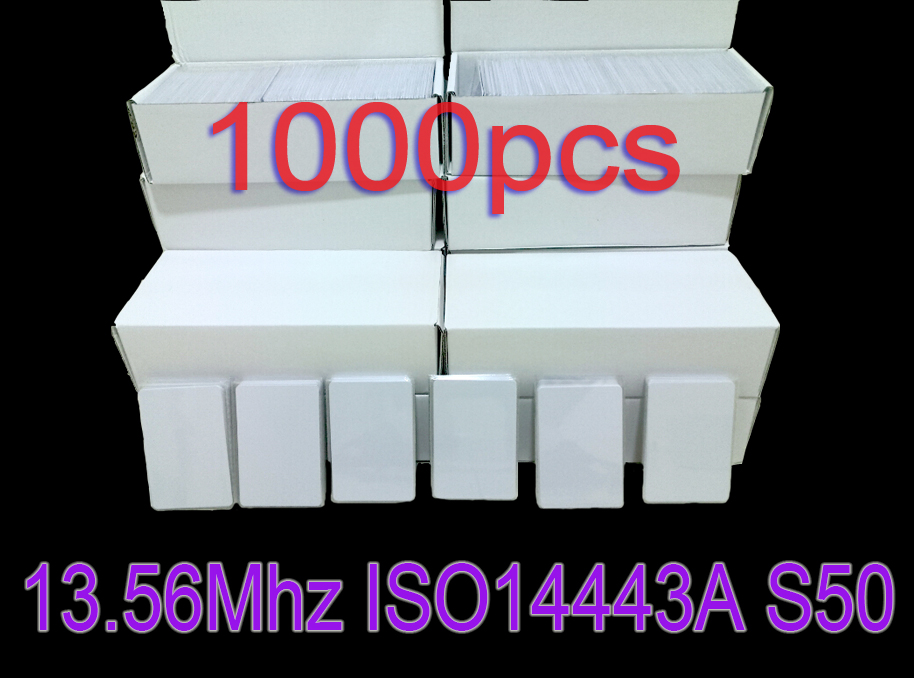 Free Shipping 1000pcs/Lot RFID 13.56mhz ISO14443A MF S50 Nfc Card Re-writable White Cards for Access control and Attendance free shipping 50pcs lot pvc contactless smart rfid ic card m1 s50 13 56mhz access control cards readable writable