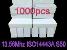 Tarjeta inteligente 1K Nfc para control de acceso y asistencia, 1000 unids/lote, RFID, 13,56 MHz, ISO14443A