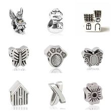 Vintage Punk Tribal Jewelry Cat Seahorse Dress Leaves Flowers Beads Charms Fit Pandora Bracelets Necklaces Women DIY Making Gift(China)