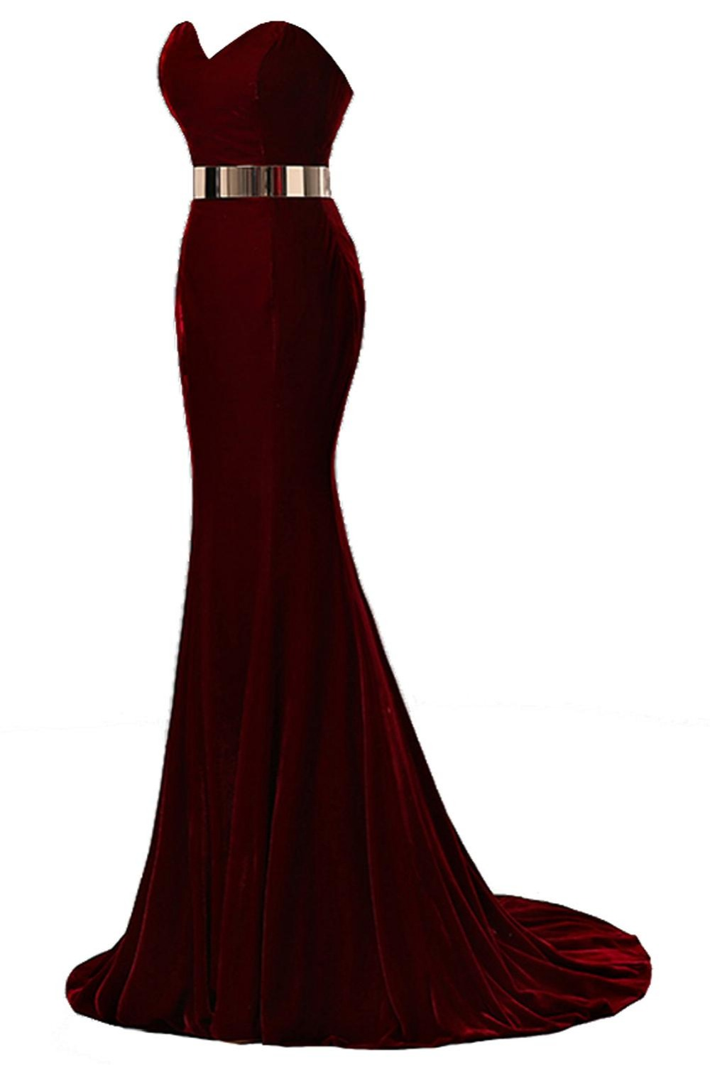 Evening Dresses Honesty 2019 New Real Wine Red Velour Mermaid Evening Dresses Gold Metal Belt Formal Party Gown Vestido Longo Longo Clients First