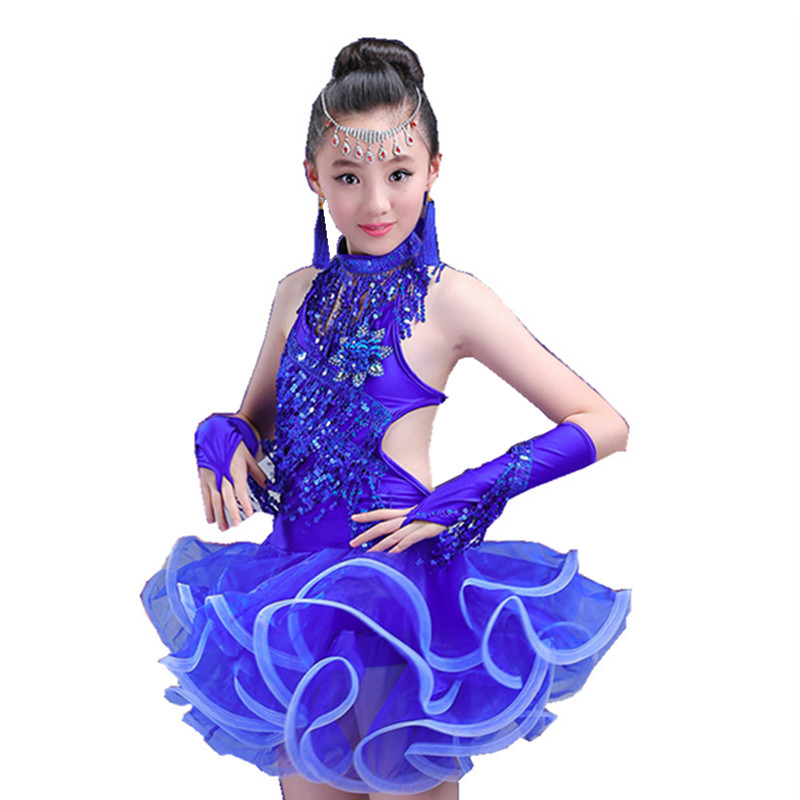 Kids Latin Dance Dress White Red Blue Sexy Girls Dance Costumes Sequins Tassels Latin Dresses for Girls Competition Salsa Dress