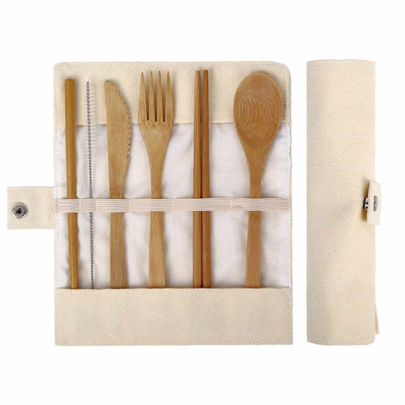 Bamboo Utensils Wooden Travel Cutlery Set Reusable Utensils With Pouch Camping Utensils Zero Waste Fork Spoon Knife Flatware Set