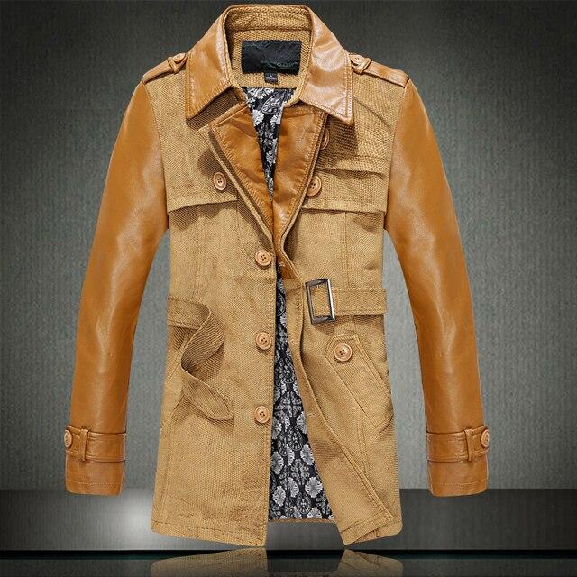 Caliente gabardina Septwolves marca 2016 nuevos hombres de cuero genuino, chaqueta de cuero de oveja de invierno de los hombres, los hombres ropa de invierno, MPY111