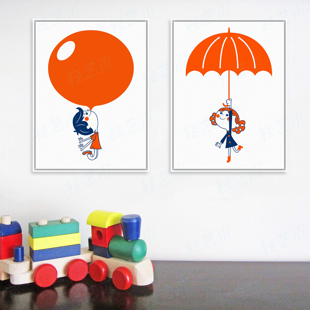 modern red balloon umbrella boy girl a4 large art print poster cartoon wall picture canvas painting no frame kids room home deco