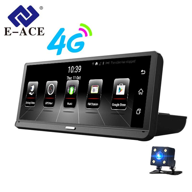 E-ACE Auto Dvr della Macchina Fotografica 8 pollice 4g Android 5.1 Full HD 1080 p Dual Lens GPS Navigatore ADAS Dash cam Auto Registrar Registratore Video
