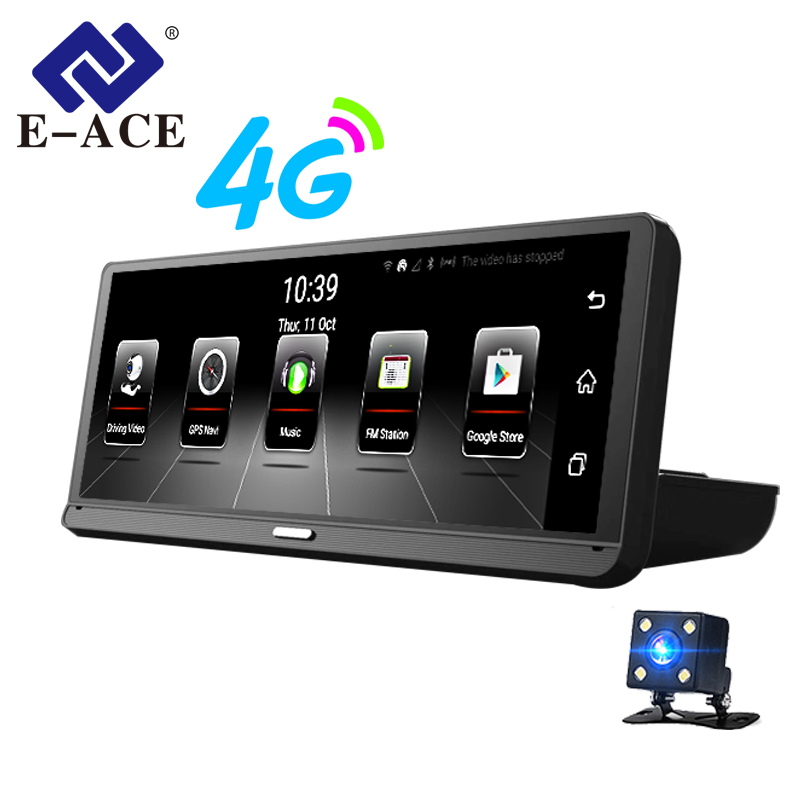 E-ACE Car DVRs Camera 8 Inch 4G Android 5.1 Full HD 1080P Dual Lens GPS Navigator ADAS Dash Cam Auto Registrar Video Recorder e ace 3g car dvr gps camera mirror 7 0 inch android dash cam full hd 1080p video recorder auto car wifi bluetooth dual lens dvrs