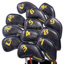 NEW Champkey 12pcs Golf Iron Cover Headcover 3 Colors PU Leather With Breath Holes Head Covers